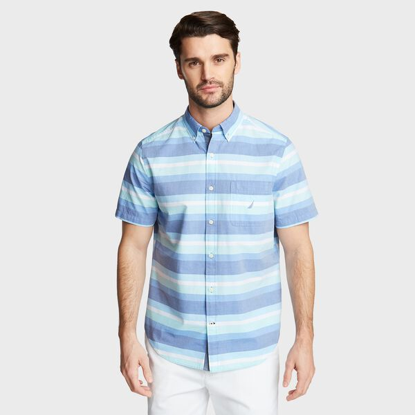 CLASSIC FIT SHORT SLEEVE POPLIN SHIRT IN PLAID - Clear Skies Blue
