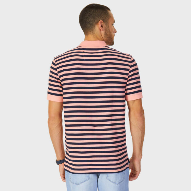 Classic Fit Performance Striped Polo,Coral Sands,large