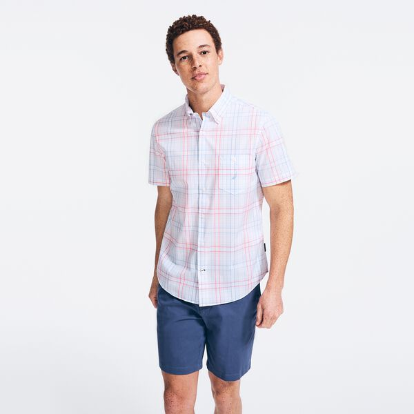 NAVTECH PLAID SHORT SLEEVE SHIRT - Bright White