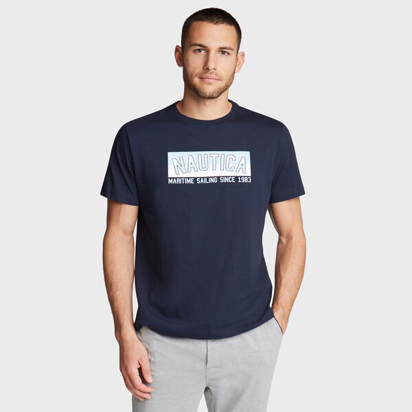 MARITIME SAILING PRINT SLEEP T-SHIRT - Pure Dark Pacific Wash