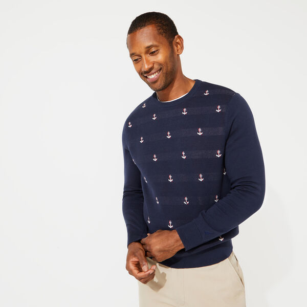 ANCHOR PRINT JACQUARD CREWNECK SWEATER - Navy