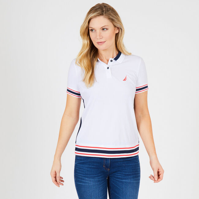 Colorblock Trim Classic Fit Heritage Polo,Bright White,large