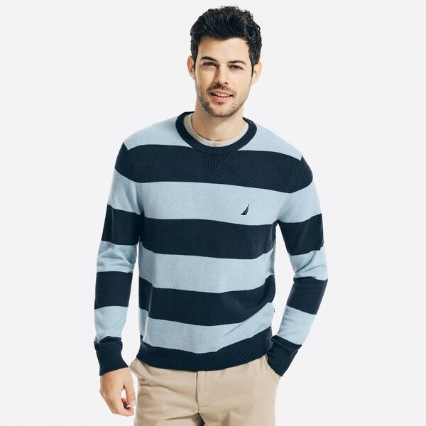 SUSTAINABLY CRAFTED STRIPED SWEATER - Navy