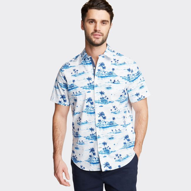CLASSIC FIT SHORT SLEEVE POPLIN SHIRT IN PRINT,Bright White,large