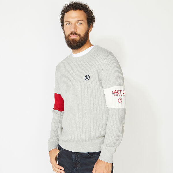 NAUTICA JEANS CO. ARM BAND SWEATER - Grey Heather