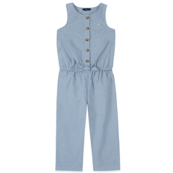 TODDLER GIRLS' CROPPED TIE-FRONT CHAMBRAY JUMPSUIT (2T-4T) - Nite Sea Heather