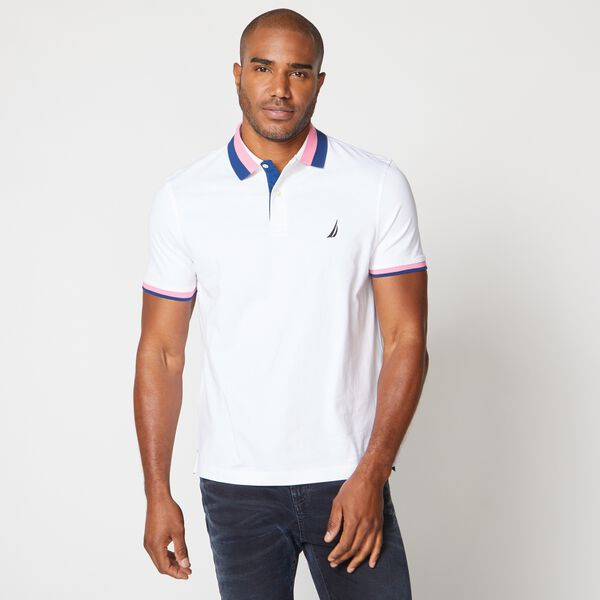CLASSIC FIT PREMIUM COTTON STRIPE COLLAR POLO - Bright White