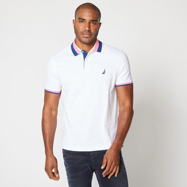 CLASSIC FIT PREMIUM COTTON STRIPE COLLAR POLO,Bright White,large