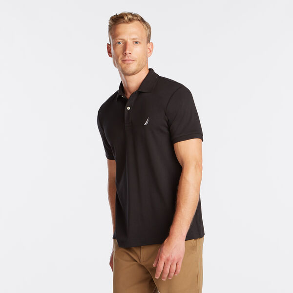Slim Fit Solid Interlock Cotton Polo - True Black