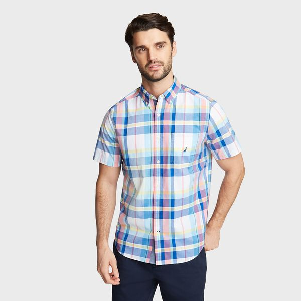 BIG & TALL SHORT SLEEVE SHIRT IN PASTEL PLAID - Bright White