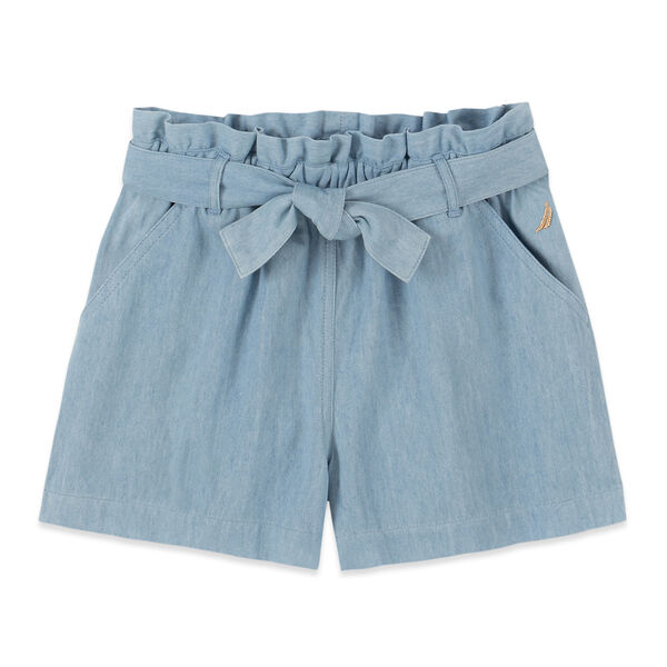 LITTLE GIRLS' CHAMBRAY PULL-ON SHORT (4-7) - Nite Sea Heather
