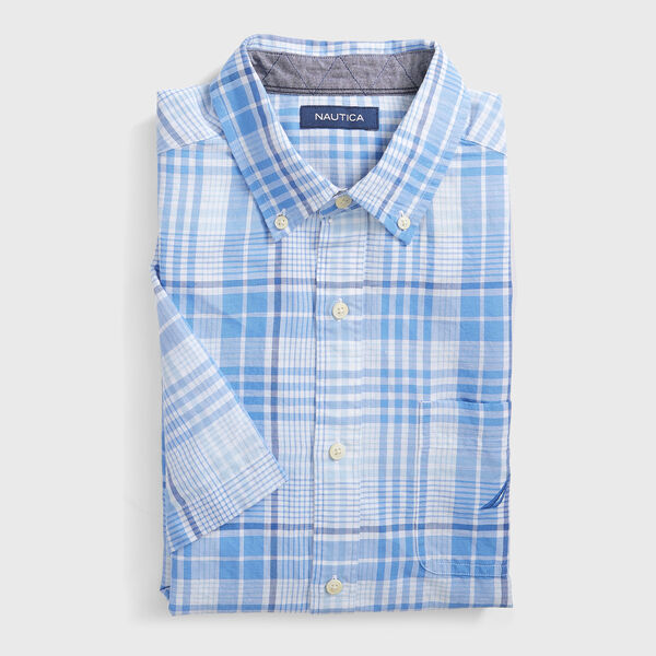 PLAID LINEN SHORT SLEEVE SHIRT - Bright White
