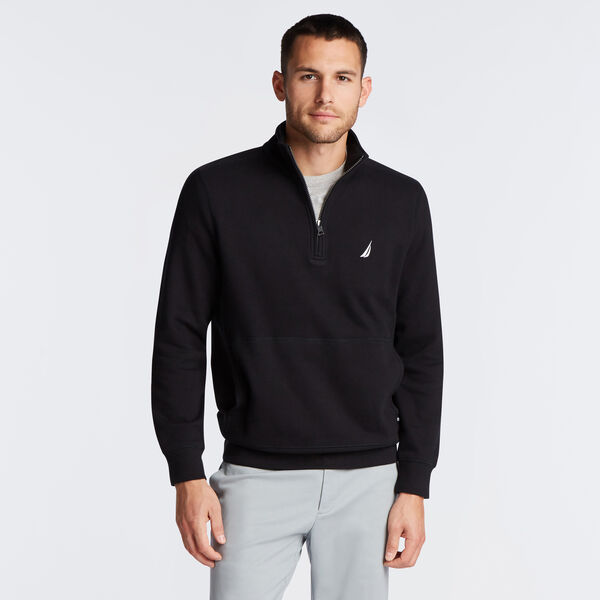 SUEDED FLEECE QUARTER ZIP PULLOVER - True Black