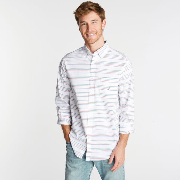 CLASSIC FIT STRETCH POPLIN SHIRT IN HORIZONTAL STRIPE - Bright White