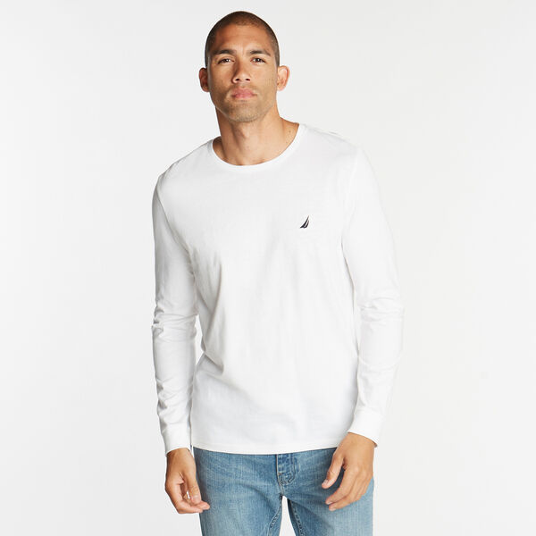 CREW NECK LONG SLEEVE TEE - Bright White