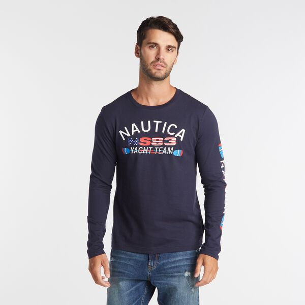 BIG & TALL LONG SLEEVE YACHT TEAM T-SHIRT - Navy