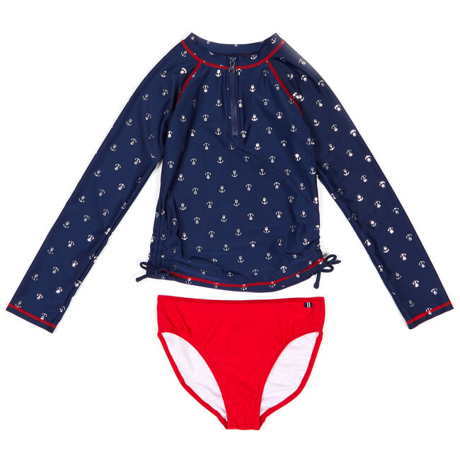 Toddler Girls' Anchor Motif Two-Piece Swimsuit (2T-4T),Navy,large