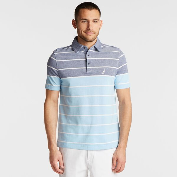 BIG & TALL OXFORD POLO IN MIXED STRIPE - Blue Depths