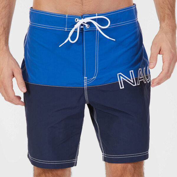 Logo Swim Short in Colorblock - Monaco Blue