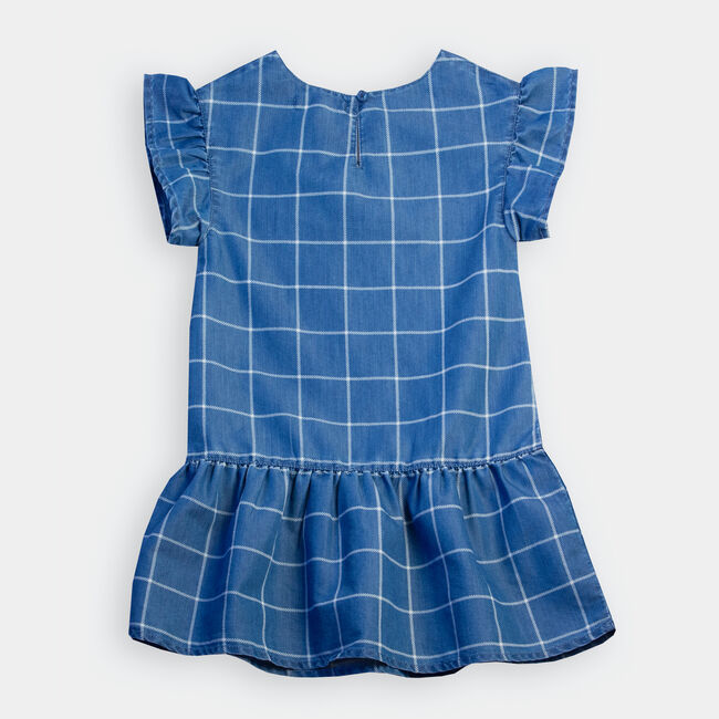 LITTLE GIRLS' WINDOWPANE CHAMBRAY DRESS (4-7),Light Tide Water Wash,large