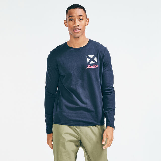 SIGNAL FLAG GRAPHIC LONG SLEEVE T-SHIRT,Navy,large