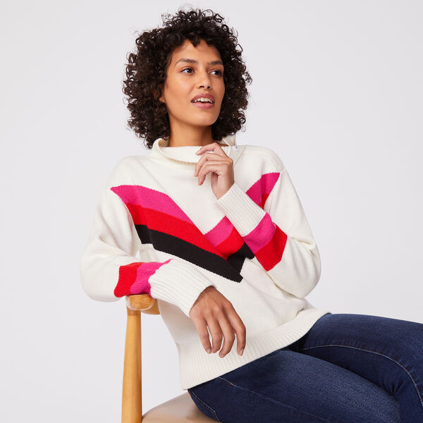 CHEVRON SNAP-BUTTON TURTLENECK - Marshmallow