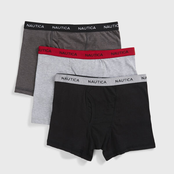 BOYS' BOXER BRIEFS, 3-PACK - Black