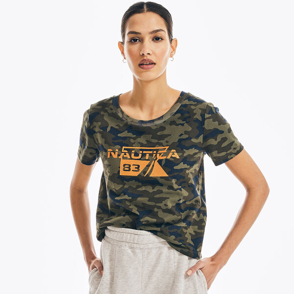 CAMOUFLAGE GRAPHIC CROPPED T-SHIRT - Hillside Olive