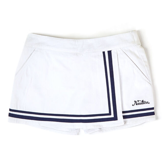 Toddler Girls' Striped Border Skort (2T-4T),White,large