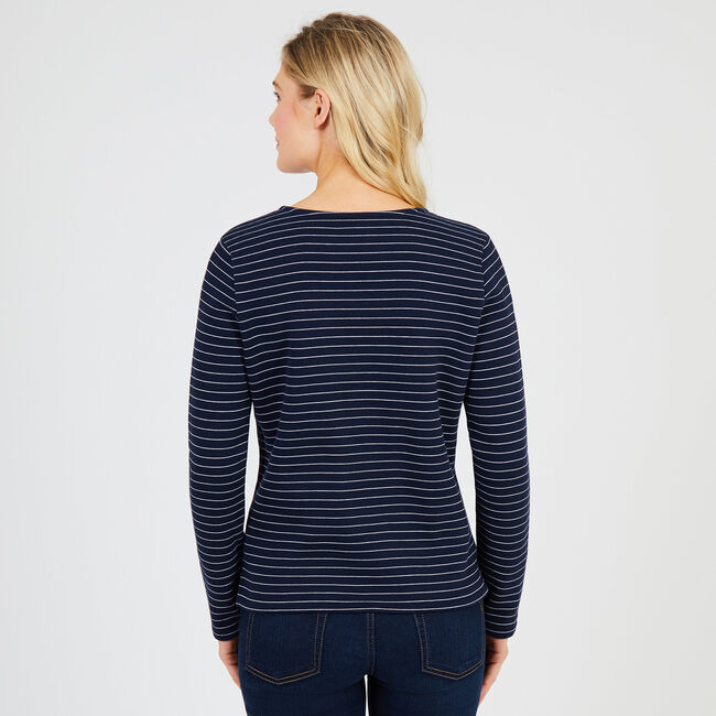 Striped Lace-Up Pullover,Deep Sea,large
