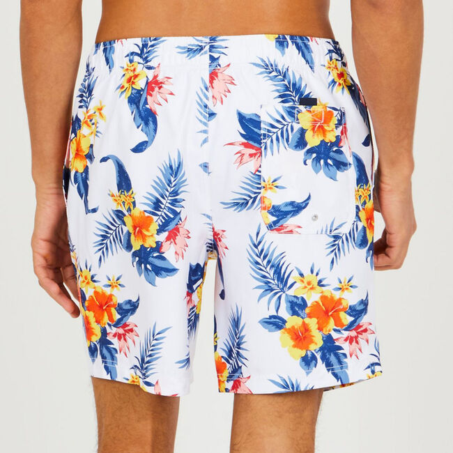 "8"" SWIM SHORT IN FLORAL PRINT,Bright White,large"