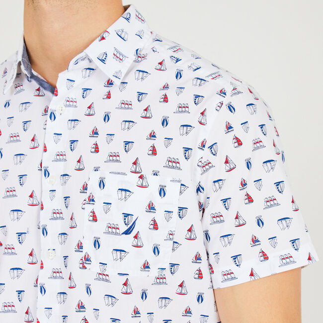 Sailboat Motif Short Sleeve Classic Fit Button Down,Bright White,large