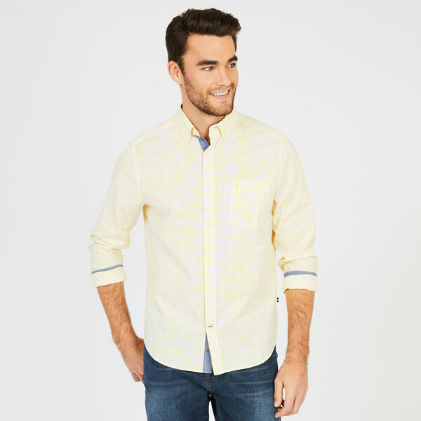 Poplin Classic Fit Gingham Button-Down Shirt - Shoreline Yellow