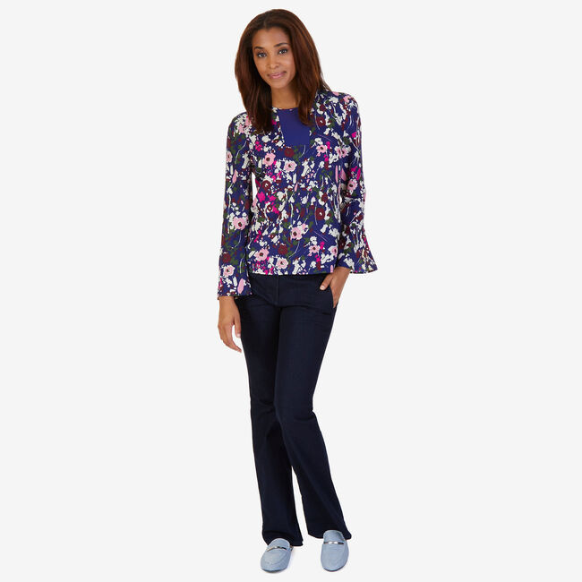 Floral Bell Cuff Top,Navy,large