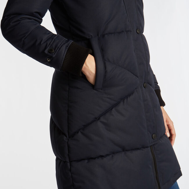 WOMEN'S LONG QUILTED PUFFER COAT,Stellar Blue Heather,large
