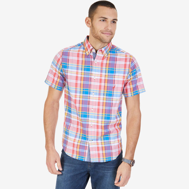 Big & Tall Short Sleeve Classic Fit Plaid Shirt,Sailor Red,large