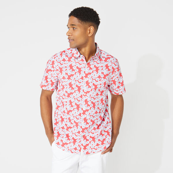 CLASSIC FIT FLORAL PRINT POPLIN SHIRT - Persian Red