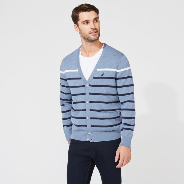 CLASSIC FIT STRIPED CARDIGAN - Anchor Blue Heather