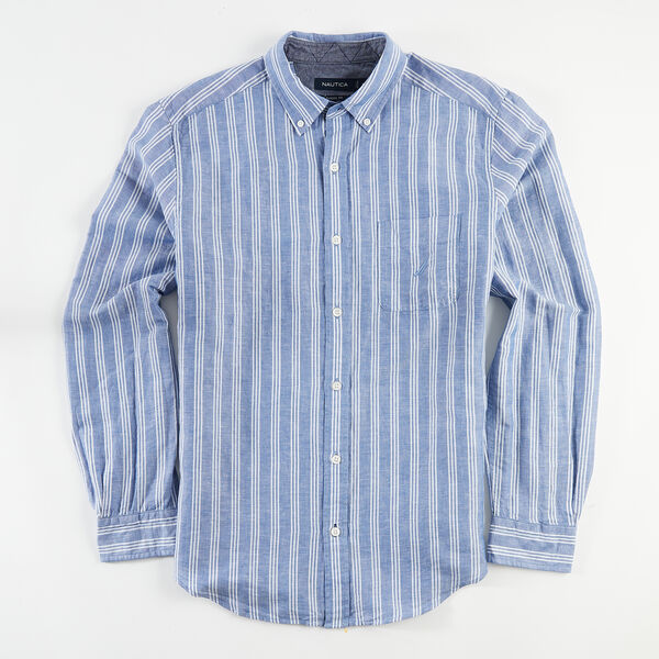 CLASSIC FIT STRIPE LINEN SHIRT - Limoges