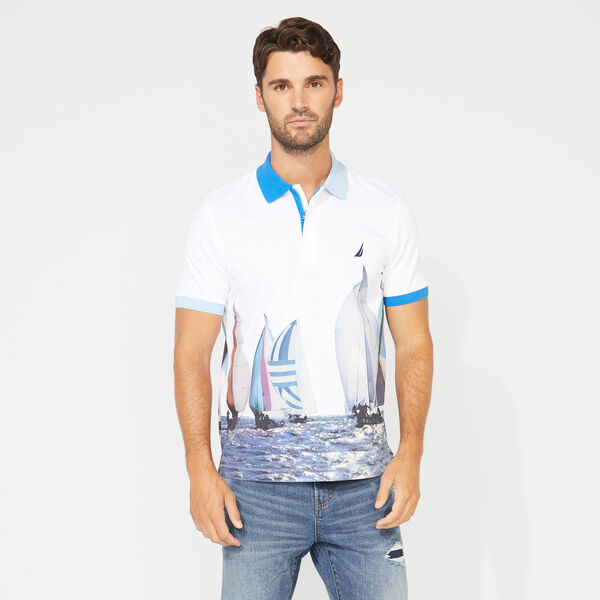 CLASSIC FIT NAUTICAL PRINT POLO - Bright White