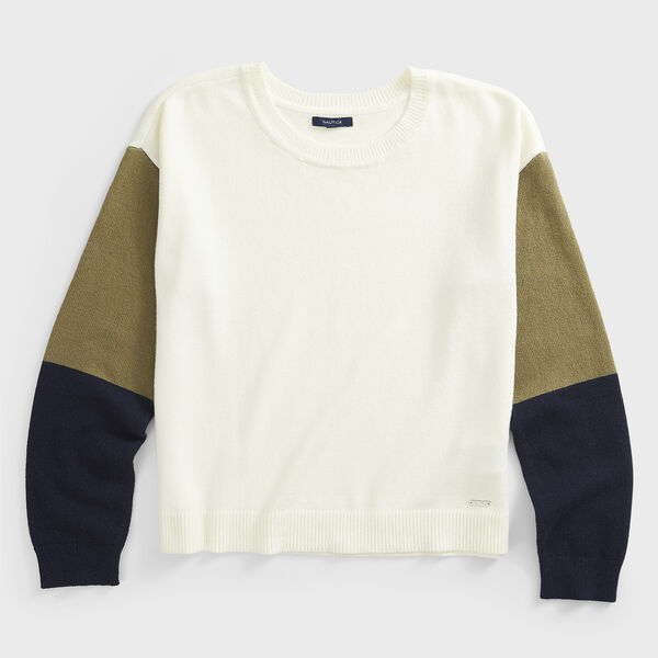 COLORBLOCK-SLEEVE KNIT SWEATER - Marshmallow