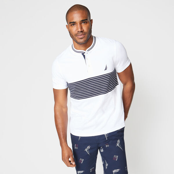SLIM FIT STRIPE HENLEY - Bright White