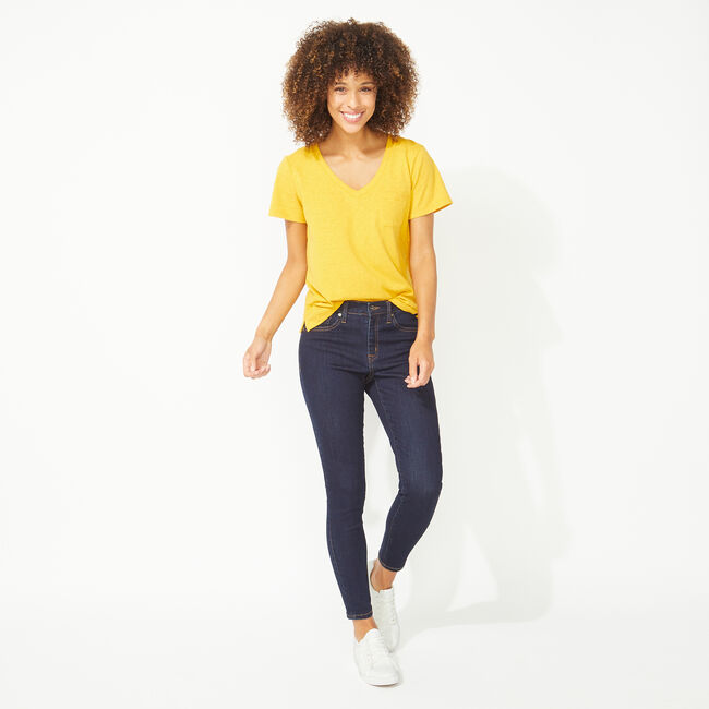 NAUTICA JEANS CO. SOLID V-NECK POCKET TEE,Yacht Yellow,large