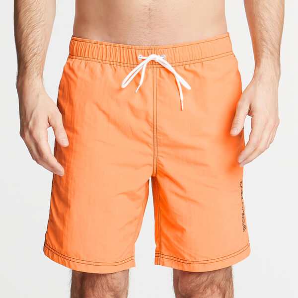 "8"" SOLID EMBROIDERED LOGO SWIM TRUNKS - Suncoast Orange"