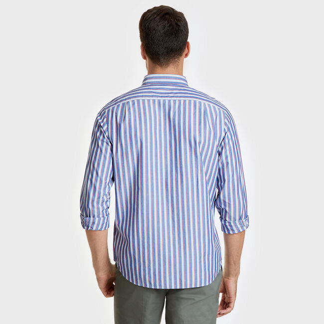 Long Sleeve Poplin Striped Classic Fit Shirt,Bluefish,large
