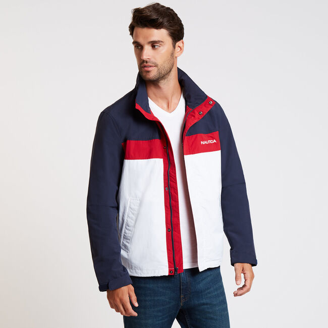 Lightweight Colorblock Bomber Jacket,Navy,large