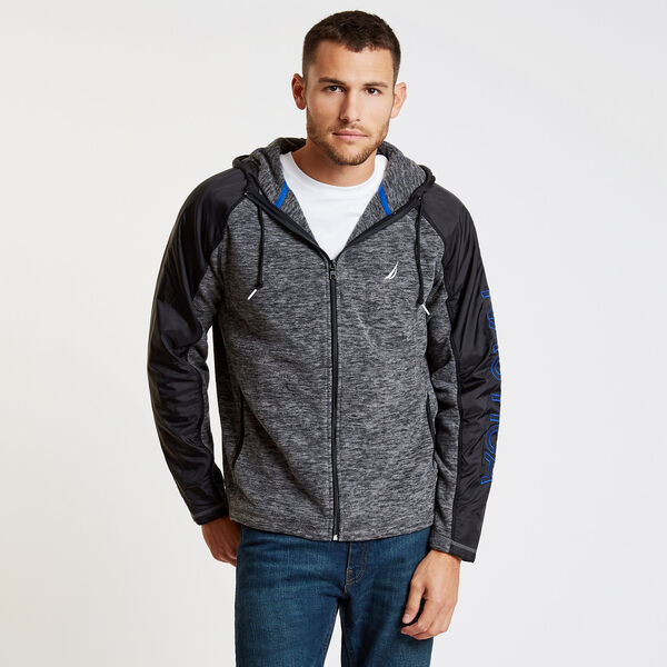 Colorblock Logo Full-Zip Nautex Hoodie - Charcoal Heather