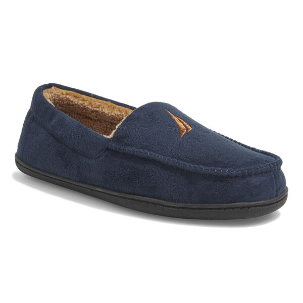 MICROSUEDE FLEECE LINED SLIPPERS - Navy