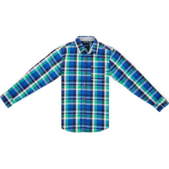 Toddler Boys' Mason Plaid Long Sleeve Shirt (2T-4T),Reef Blue,large