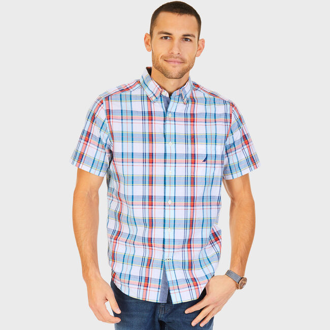 43e9a04e Big & Tall Short Sleeve Classic Fit Poplin Plaid Shirt,Bright White,large  ...